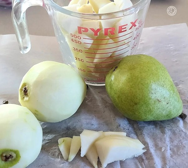Measuring chopped pears