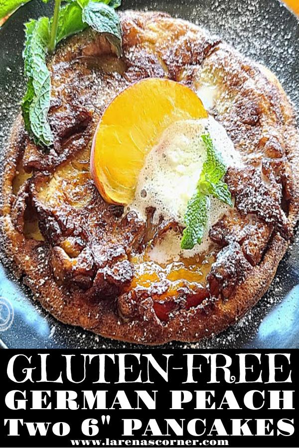 A gluten-free German Peach Pancake flipped up side down
