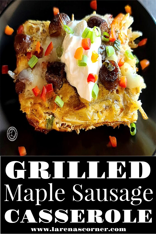 Grilled Maple Sausage Casserole a piece on a plate with sour cream and chopped bell peppers