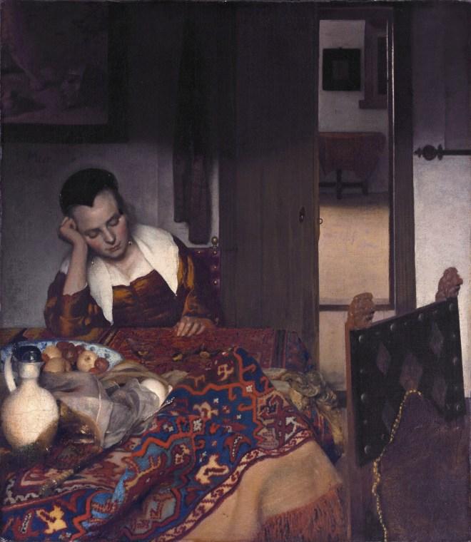 A Maid Asleep *oil on canvas *87.6 x 76.5 cm *signed c.l.: I·VMeer·