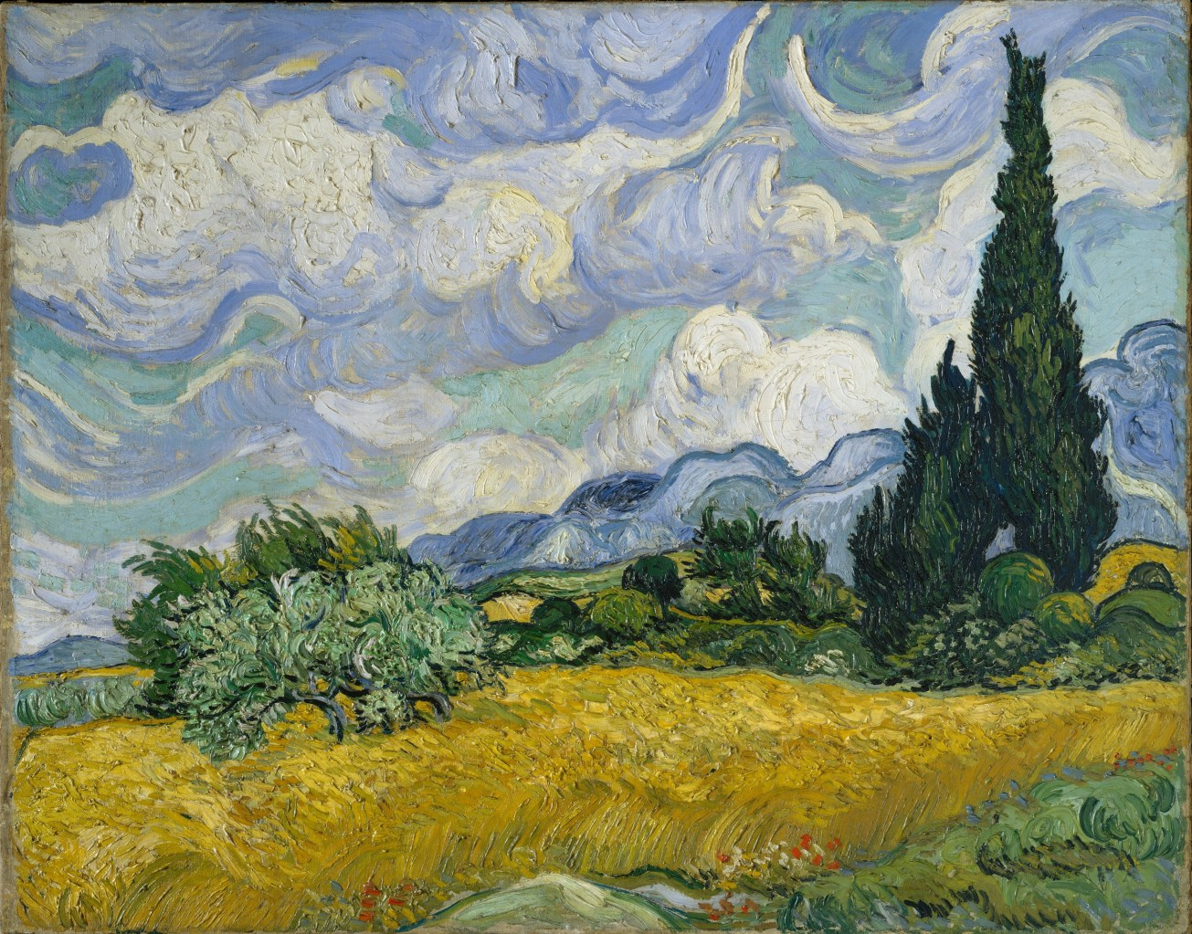 Wheat-Field-with-Cypresses-(1889)-Vincent-van-Gogh-Met