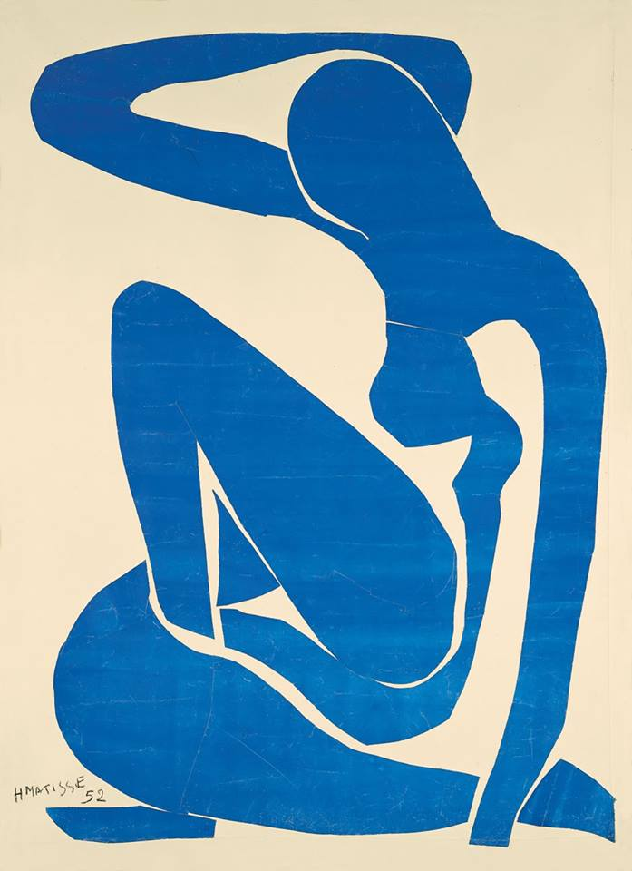 Henri Matisse (French, 1869-1954)- Blue Nude II, 1952. Gouache-painted paper cut-outs stuck to paper mounted on canvas; 116.2 x 88.9 cm (45.7 x 35 inches). Pompidou Centre, Paris, France.