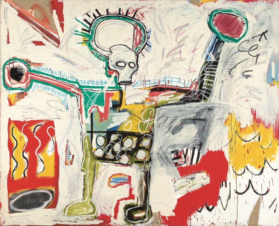 Jean-Michel Basquiat (American, Neo-Expressionism, 1960-1988)- Untitled, 1982. Acrylic and oil on linen, 76 x 94-1:10 inches (193 x 239 cm).