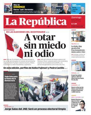 Printed Edition - La Republica    Lima - Sunday June 06, 2021