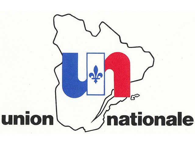 New blue, white and red logo of the Union nationale, represented by a U and an N séparé separated by a Fleur de lys