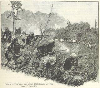 Scène de la bataille d'Amoaful le 31 janvier 1874 lors de la troisième guerre anglo-ashanti. Malgré l'utilisation de fusils à rechargement par la gueule, comme on peut le noter sur la gravure, les guerriers ashantis du chef Amanquatia usèrent du terrain à leur avantage et engagèrent des heures durant les troupiers du 42e régiment d'infanterie (le fameux Black Watch). L'empire ashanti s'étendait sur l'actuel Ghana et offrit une résistance farouche aux Britanniques qui durent mener cinq guerres pour pacifier la région. (A. Forbes, A. Griffith, in Illustrated Battles of the Nineteenth Century, British Library, 1895, volume 1). Une fois la surprise des premiers combats passés, Samory Touré a modifié ses tactiques et privilégié une posture indirecte en attaquant les arrières et les flancs des colonnes françaises. Le choc frontal n'est alors plus recherché. Il s'agit dorénavant de harceler l'ennemi au coeur du territoire en attaquant ses communications et sa logistique. L'utilisation des particularités géographiques de la région et d'armes à chargement par la culasse permet d'accrocher les troupes françaises plus longtemps, sans s'exposer davantage. Sans soutien ni approvisionnements, les expéditions montées par ces dernières sont vouées à l'échec et doivent alors rebrousser chemin.