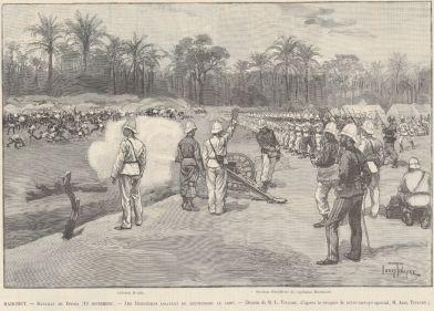 Bataille de dogba, 19 septembre 1892. Les Dahoméens chargent de front les lignes françaises (Le Monde illustré, 12/11/1892, M.L. Tinayre / M. A. Tinayre). Lors des premiers engagements, les forces de Samory employèrent des tactiques similaires et subirent le même sort que les Dahoméens, à quelques années d'intervales : l'armement français fauchera nombre de combattants. Ces tactiques qui semblent archaïques peuvent s'expliquer de plusieurs manières. Il pourrait s'agir d'une habitude héritée de la tradition guerrière régionale, où l'honneur s'acquiert dans la confrontation avec le danger. D'une tactique mûe par la nécessité de palier au manque d'armes à feu. Plus simplement on peut y remarquer l'expression de la confrontation entre deux arts de la guerre différents : celui occidental s'appuyant sur le feu, l'autre africain reposant sur le choc. Quoiqu'il en soit, la méconnaissance de l'armement de l'adversaire aboutira à de très lourdes pertes dans les armées africaines.