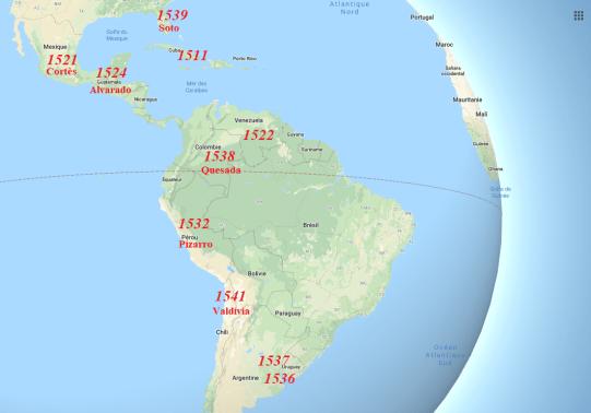 5-L'Empire espagnol en 1541 (Source-Google Maps modifiée par l'auteur)