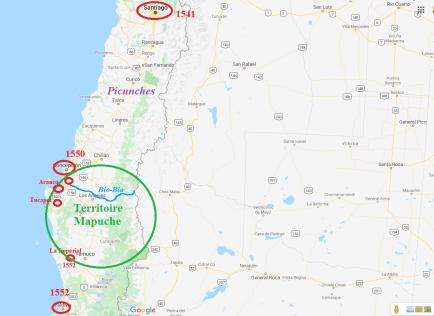 9-La conquête du Chili par l'Espagne (Source-Google Maps modifiée par l'auteur)