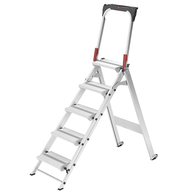 43-inch silver step ladder used for professional work