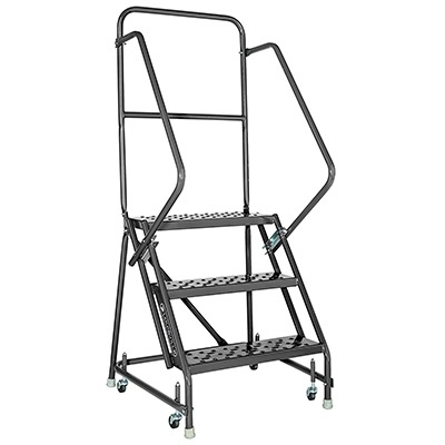 Louisville industrial 3-step ladder with handrails. Made for warehouse use. Product has wheels for easy mobility.