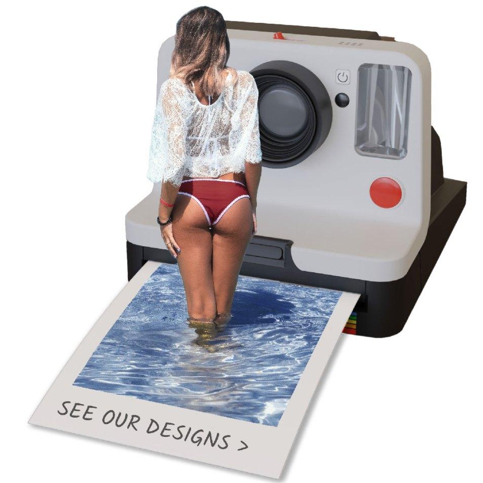 Girl in bikini standing on picture.