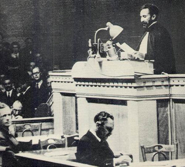 Haile Selasssie addressing The League of Nations