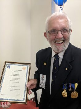 Errol Chinner receives award for 25 years service to the Wheel Chair Project
