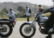Community members improve their motorcycle skills to the test through the Saddleback Rider Training course that is held in parking lot 5A every weekend at Saddleback College.