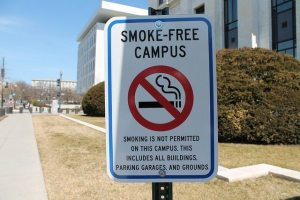 Signs like this will be seen about Saddleback and Irvine Valley Colleges if the campuses decide to enact a tobacco-free policy. (Elvert Barnes, Flickr/CC BY-SA 2.0 license)