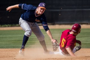 Sophomore Casey Bennett is caught stealing during the Saddleback loss to OCC, 13-3, on Tuesday at Doug Fritz field in Mission Viejo, Calif.