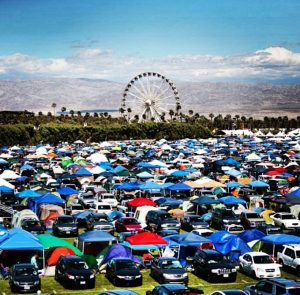 Overview of the campsites and festival gates.