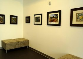This art display is part of the Emeritus Institute Fine Arts Exhibition: Plein Air/Remix 2014, which runs through Friday, May 16, at Saddleback College's Library located on the third floor of the Learning Resource Center, in Mission Viejo, Calif. (Photo/Marivel Guzman)