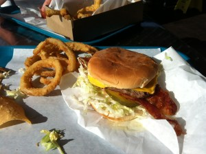 Breakfast-style bacon tops off a Bacon Cheesburger made by A's Burgers in San Juan Capistrano - Photo by Stefan Stenroos
