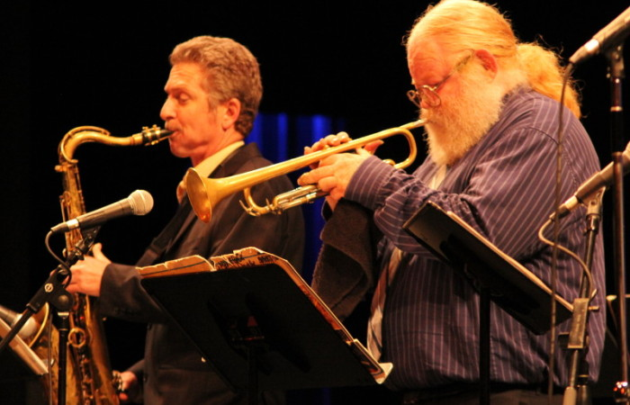 Gerald T. Pinter (left, saxophone) performs with Ron Stout (right, trumpet) Monday night in the McKinney Theatre.(Photographer/Niko LaBarbera)