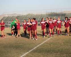 saddleback College women's soccer team breeze 2-0 over Fullerton College take victory walk off gauchos stadium field (Photographs/Dominic D. Ebel)
