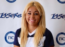 A late goal by Marissa Rico (above) forged the Lasers to victory over Fullerton College. (Photo courtesy by Irvine Valley College Athletics)