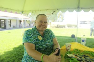 Saddleback's director of outreach and recruitment shaves her head for a good cause in support of raising money for pediatric cancer research. Elizabeth Ortiz/Lariat