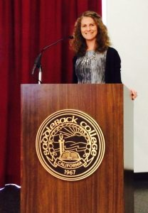 Michelle Wulfestieg speaks to Saddleback College about hospice services.