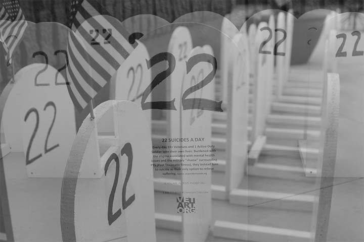 The 22 tombstones depicting the 22 suicides that happen every day with America's veterans (photograph/Hannah Tavares).