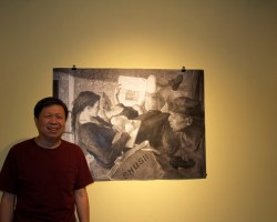 Yu Ji is standing next to his painting Shush, before explaining its significance.