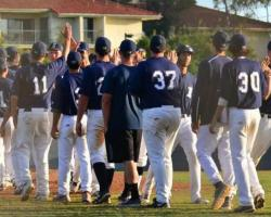 Irvine Valley College baseball team celebrating their first conference win. (Photo courtesy of IVC Athletics Department)