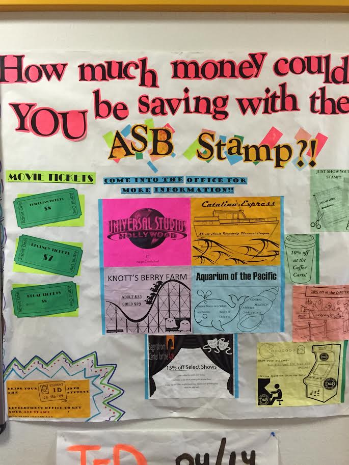 Student Development office's poster that shows students the benefits of the ASB stamp. (Aaron Mitzlaff/lariat)