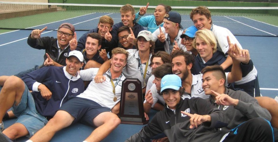 Irvine Valley College celebrates winning their first state championship in school history. The Lasers defeated Foothill College, 5-2.
