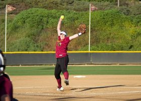 Saddleback College freshman Kaylee Cranmer gets set to throw a pitch. Cranmer and her teammates could not pull out a win in two consecutive games and were subsequently eliminated from the playoffs, ending the season. (Niko LaBar