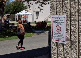 'No Tobacco' signs posted around campus prohibit the use of tobacco and e-cigarettes on campus.