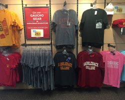 T-shirts on sale at student bookstore.