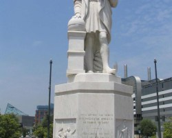 Columbus never made it to America, but cities like Baltimore, Maryland, have statues honoring his voyage. (Flickr / Brent Moore / used with a Creative Commons License CC-BY-NC 2.0)
