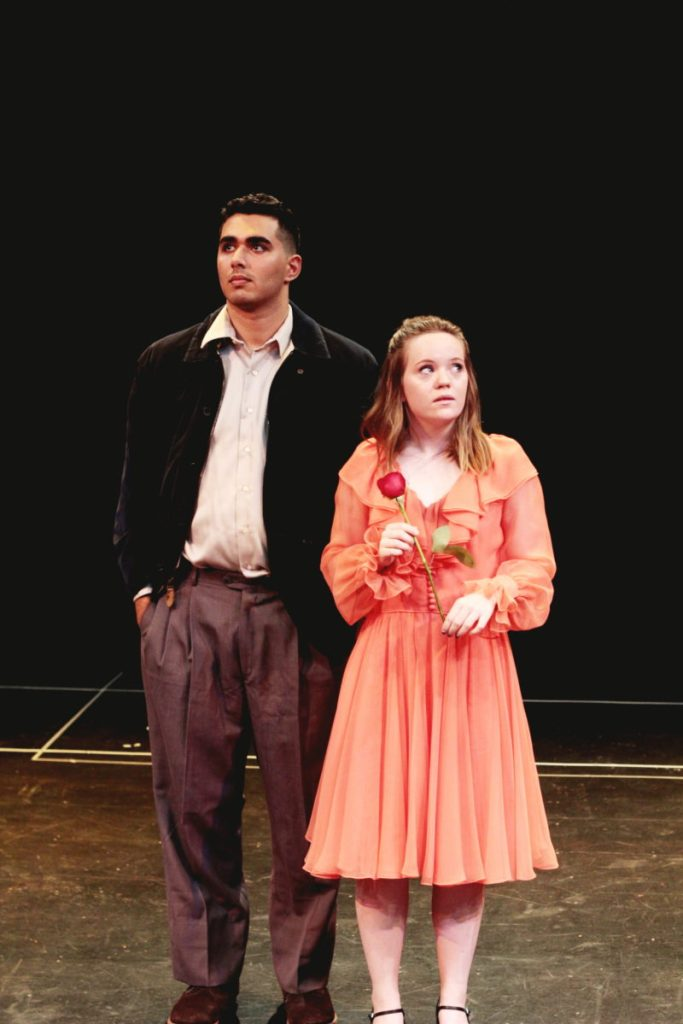 "Saddleback College's ""Dogfight"" opened Friday night with Keivon Akbari and Paige Vanderwarker playing the starring roles of Rose Fenny and Eddie Birdlace. (Courtesy of the Saddleaback Arts Department)"