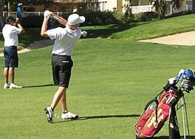 Golfer takes a swing with the state tournament in mind. After a couple years of not playing well, Saddleback looks to have a successful season. (Courtesy of Saddleback Sports Information.)