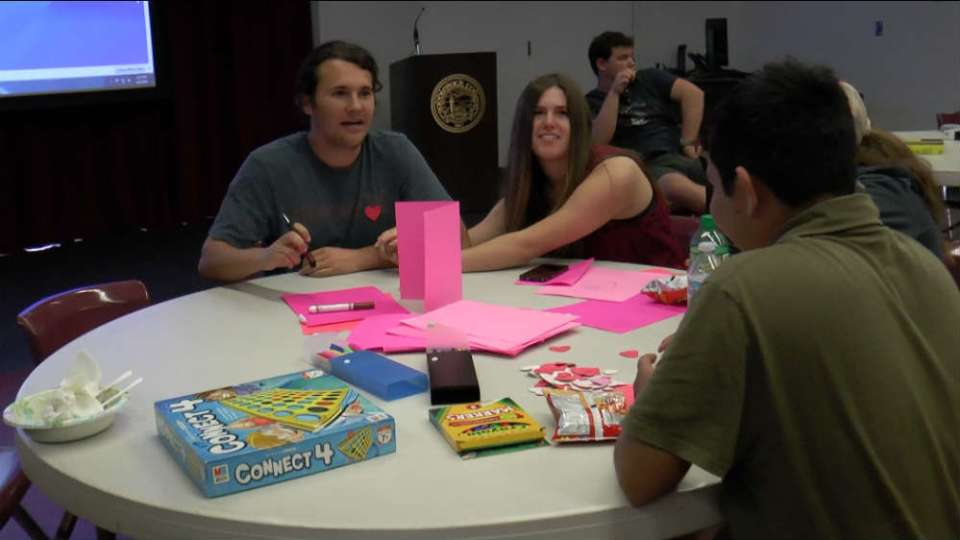 Members of the Super Friends Club join together to make cards, play games and eat ice cream. (Lariat/ Austin Weatherman)