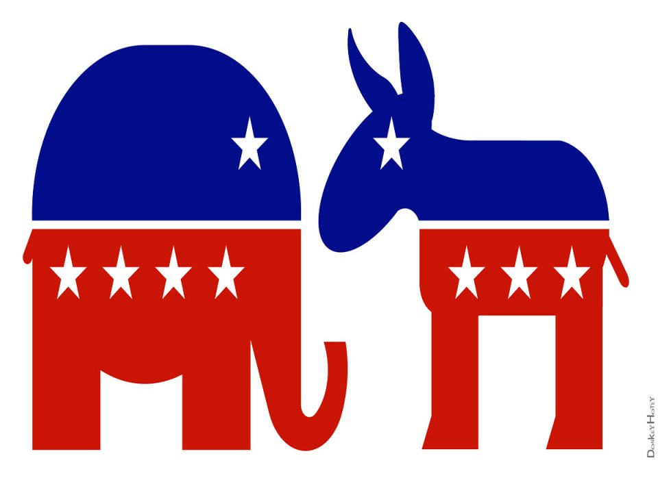 An elephant (left) and a donkey represent the Republican and Democratic parties. (DonkeyHotey/ Creative Commons)