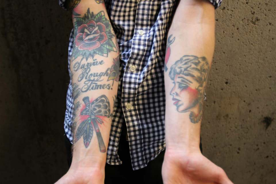 Tattoos like these can be seen all over campus. (Nick Alaimo/Lariat)