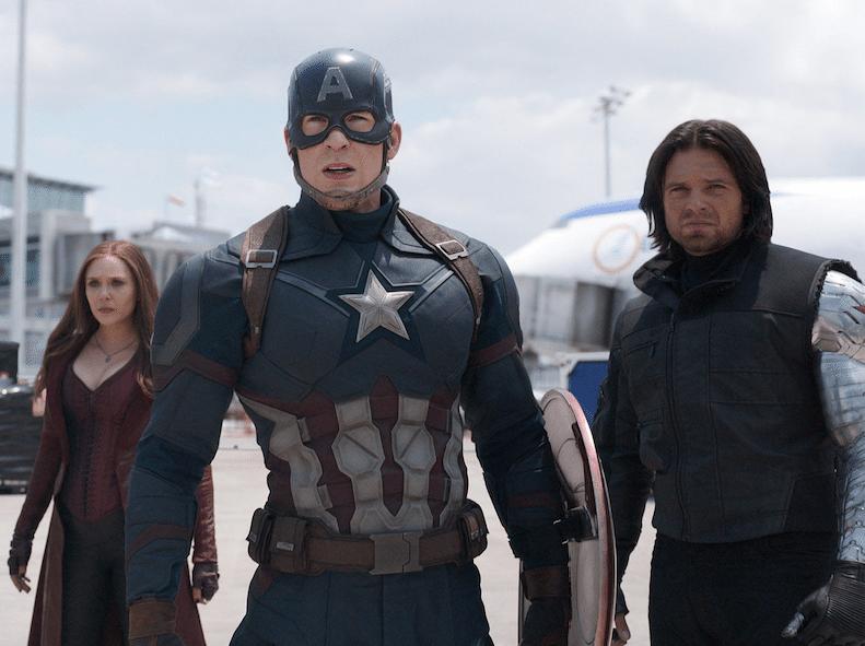Jeremy Renner, Elizabeth Olsen, Chris Evans and Sebastian Stan star in the new summer blockbuster (Marvel Studios 2016).