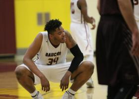 Braeon Brady takes a breather after a hard foul from a player on Antelope Valley College (Colin Reef/ Lariat)