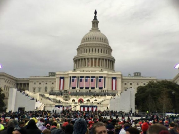 The crowd gathers outside the U.S. Capitol during the presidential inauguration on Jan. 20, 2017. (Courtesy of Alyssa Oliver/Lariat)
