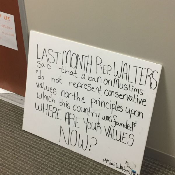 Posters left in front of Walters' office by protesters. (Lesley Naranjo / Lariat)