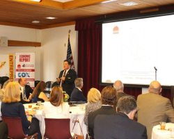 Anthony Teng, dean of Advanced Technology and Applied Sciences, speaks at the SOCCD luncheon (Stephanie Reyna/Contributor)