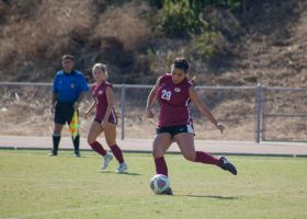 Natally Gomez taking one of many shots against Norco College. (Ally Beckwitt/ Lariat)