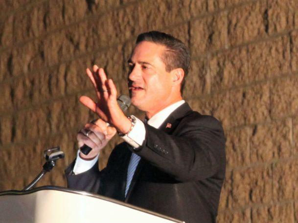Orange County Supervisor, 3rd District Todd Spitzer speaks at OCFA (Adam Gilles/Lariat)